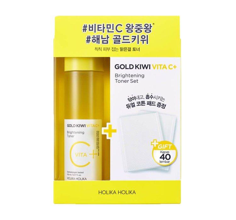 HOLIKA HOLIKA- Gold kiwi vita C+ Brightening toner - Rozjaśniający tonik z na bazie kiwi z witaminą C