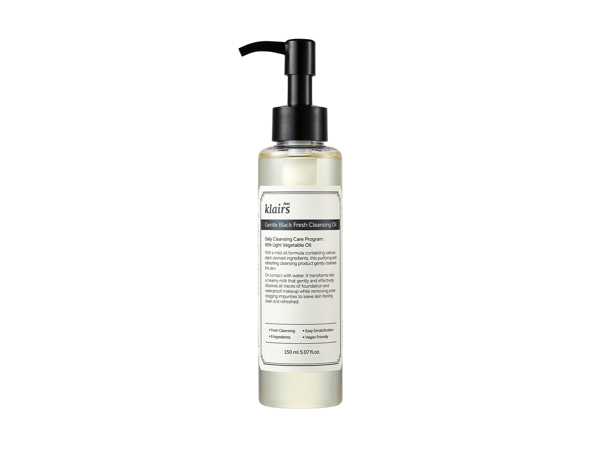 KLAIRS - Gentle Black Fresh Cleansing Oil - Delikatnie orzeźwiający olejek do oczyszczania twarzy
