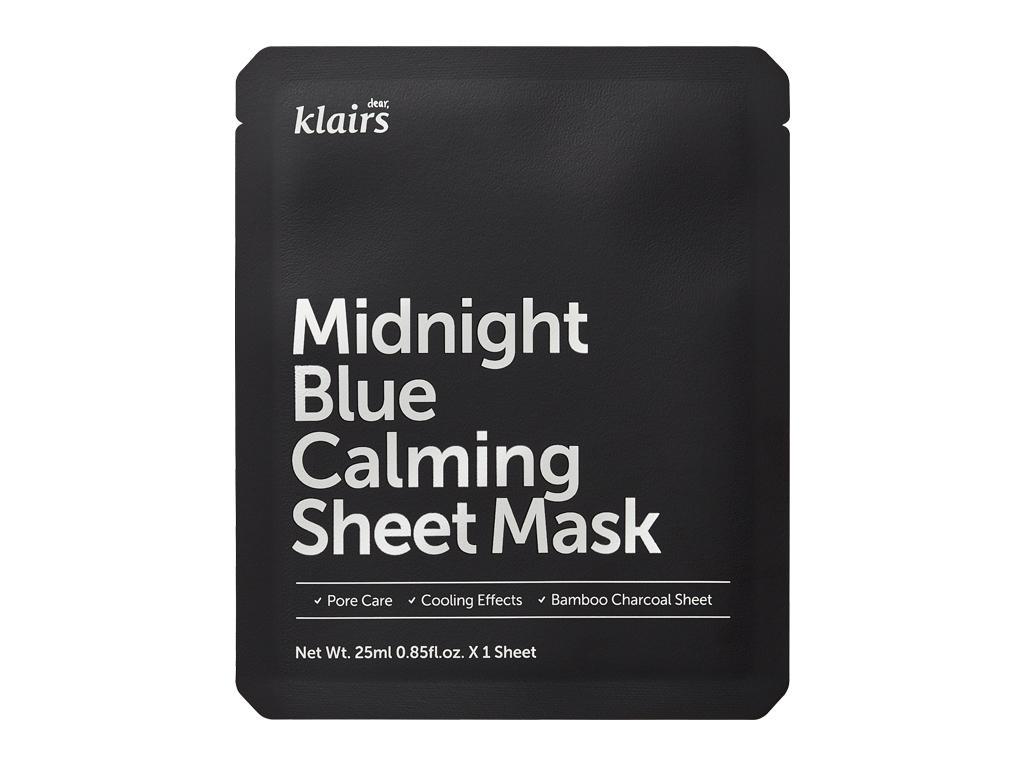 KLAIRS - Midnight Blue Calming Sheet Mask - Łagodząco-chłodząca maska z wąkrotą azjatycką