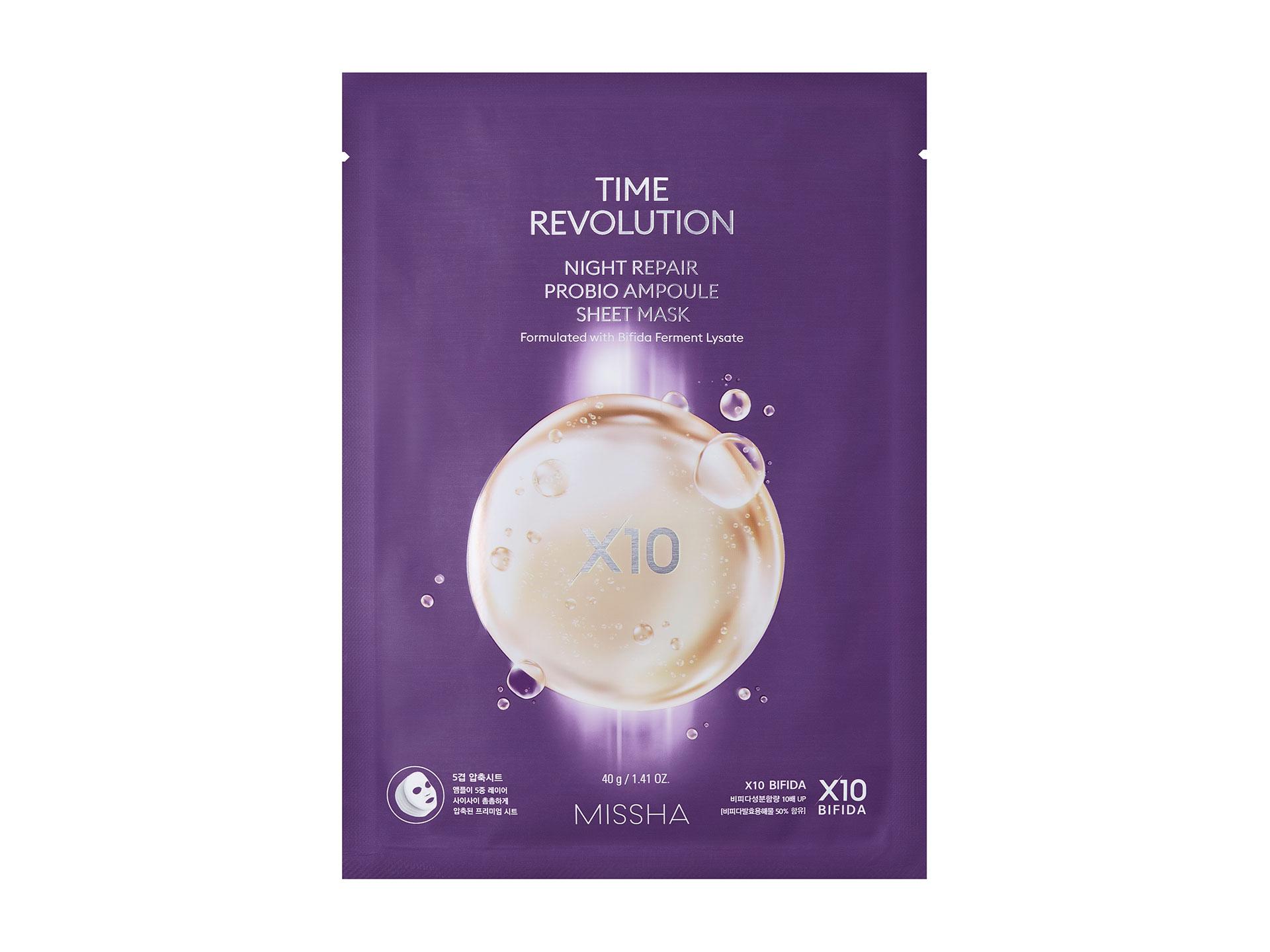 MISSHA - Time Revolution Night Repair Probio Ampoule Sheet Mask - Ujędrniająca maska z formułą anti-aging