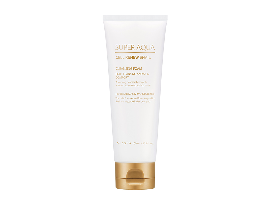 MISSHA - Super Aqua Cell Renew Snail Cleansing Foam - Oczyszczająca pianka do twarzy na bazie śluzu ślimaka