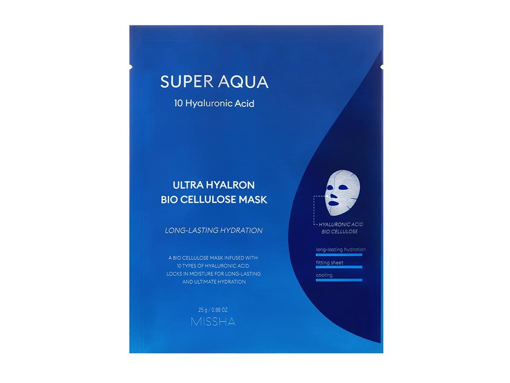 MISSHA - Super Aqua Ultra Hyalron Bio Cellulose Mask - Kojąca i nawilżająca maska z kwasem hialuronowym